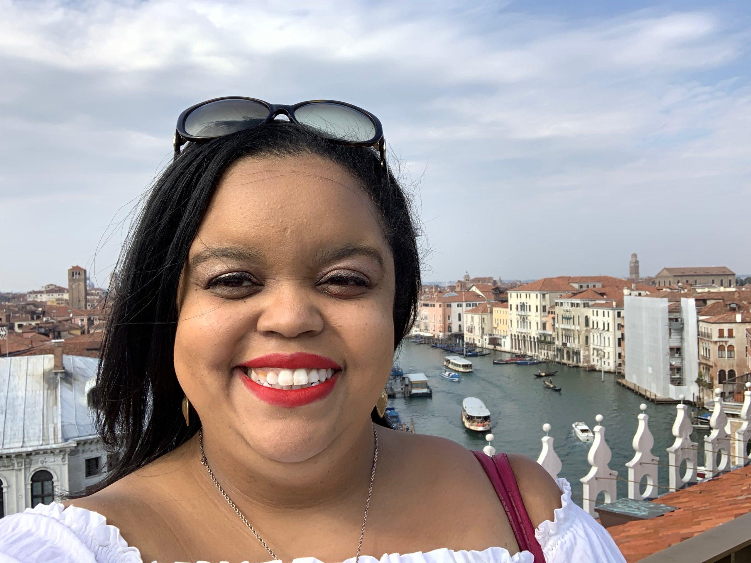 Jasmin Smiling in Venice, Italy